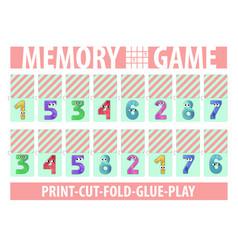 Memory card game numbers printable a4 horizontal vector