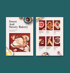 Menu bakery template design for restaurant vector