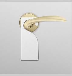 metal door handle lock with hanger realistic mock vector image