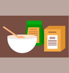 Mixing bowl with wooden spoon and packs flour vector