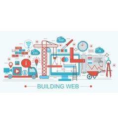 Modern Flat thin Line design Website building vector image