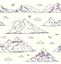 Mountain doodle seamless vector