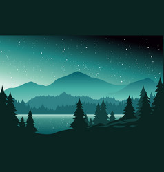 mountains and lake at night landscape flat vector image