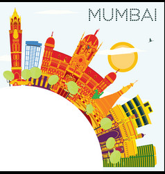 Mumbai india skyline with color buildings blue vector