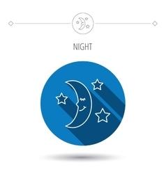 Night or sleep icon Moon and stars sign vector image
