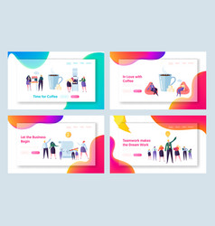 office coffee break concept landing page set vector image