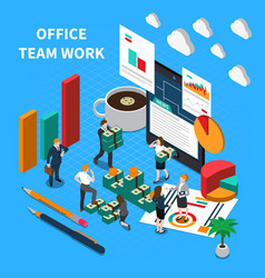 office teamwork isometric concept vector image