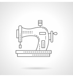 Old manual sewing machine flat line icon vector
