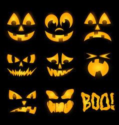 Orange halloween lighting pumpkin faces emotions vector