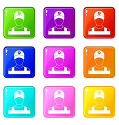 Parking attendant icons 9 set vector