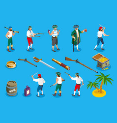 pirates isometric icons vector image