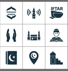 Religion icons set with mimbar mecca vector