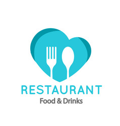 Restaurant food drinks logo fork spoon heart fra vector