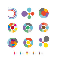 Round diagrams colorful flat collection on vector