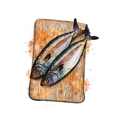 Salted herring fish on a cutting board vector