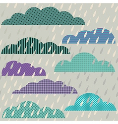 Seamless pattern with clouds and rain vector image
