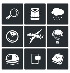 Search operation plane crash icons set vector image