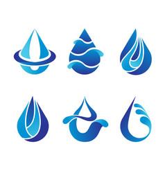 set of abstract blue water drops symbols logo vector image