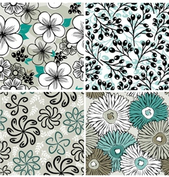 Set of flowers backgrounds vector image