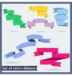 Set of retro and flat ribbons vector image