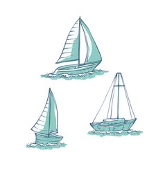 set sailing yachts on sea waves water vector image