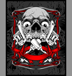skull tattoo hand drawing vector image