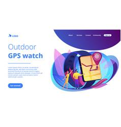 Smartwatch navigation concept landing page vector