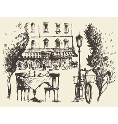 Streets Paris cafe Vintage drawn sketch vector