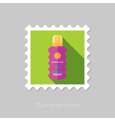 Sun Cream in Spray flat stamp with long shadow vector