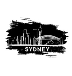 Sydney Skyline Silhouette Hand Drawn Sketch vector image