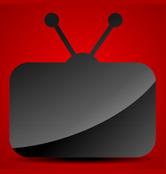television symbol with gloss over red background vector image