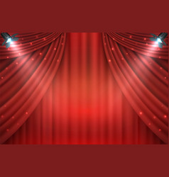 theater curtains background realistic red drapes vector image