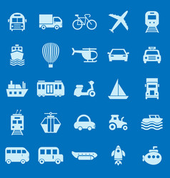 transportation color icons on blue background vector image
