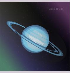 Uranus planet with ring on starry cosmic sky vector