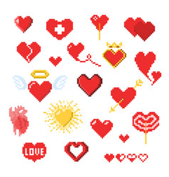 various pixel heart icons isolated on white vector image