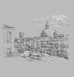 venice hand drawing grand canal gray vector image