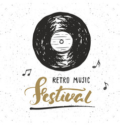 vinyl record and lettering retro music festival vector image