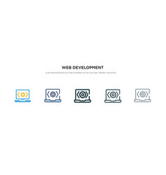 Web development icon in different style two vector