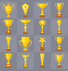 winner trophy gold cups flat icons vector image
