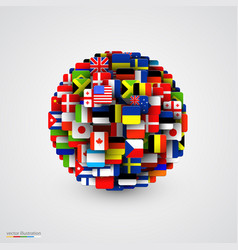 World flags in form sphere vector