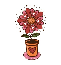 Flower with hearts in a pot vector image vector image