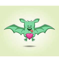Green flying monster with a heart vector image