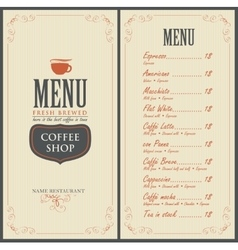 menu for the cafe with a cup of coffee vector image vector image