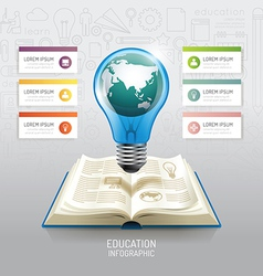 Open book infographic education world light bulb vector image