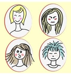 Set of cartoon girls faces vector image