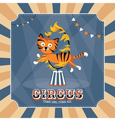 Vintage card with cute tiger vector image