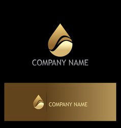 water drop eco gold logo vector image