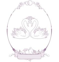 Wedding Couple of swans vector image vector image
