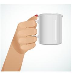 Woman hand with a mug version 2 vector image