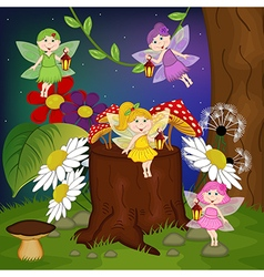 fairies in forest vector image vector image